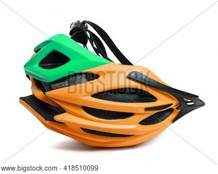 Multicolor Bicycle Helmet Upside Down Isolated On White Background