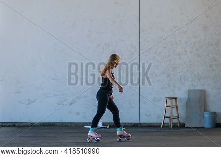 New Orleans, La - November 14: Woman Roller Skater Skates In Crescent Park On November 14, 2020 In N