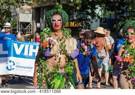 Lgtbq Pride Festival Celebration. Barcelona - Spain. June 29, 2020: A Parade Participant In A Theatr