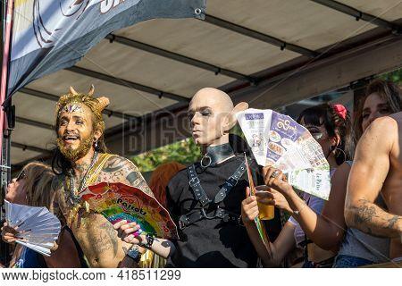 Lgtbq Pride Festival Celebration. Barcelona - Spain. June 29, 2020: A Participants In The Parade Wit