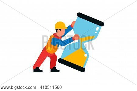 Worker Pushing An Hourglass. Builder And Hourglass. Sand, Hours, Time. Isolated Vector Illustration