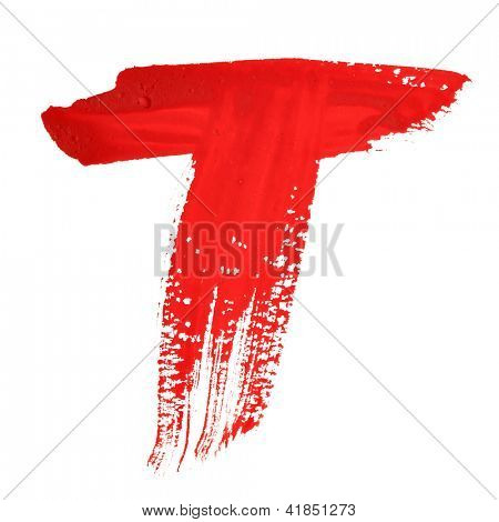 T - Red handwritten letters over white background