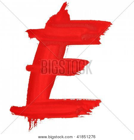 E - Red handwritten letters over white background
