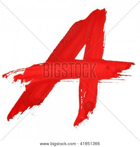 A - Red handwritten letters over white background