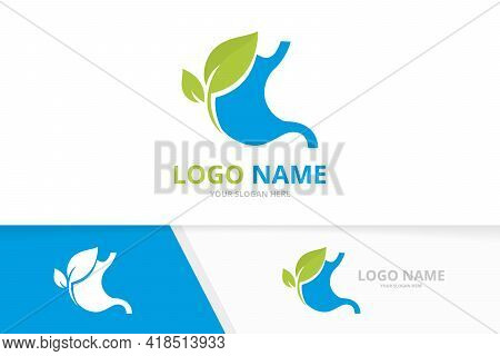 Blue Stomach Logo. Gastrointestinal Tract Logotype Design.