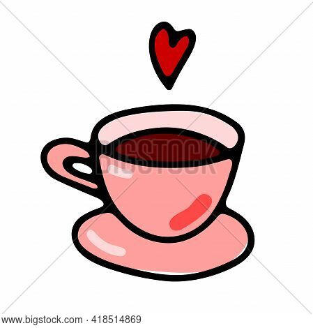 Doodle Coffee Cup. Cute Hot Beverage Isolated On White Background. Pink Tea, Latte, Cappuccino, Amer