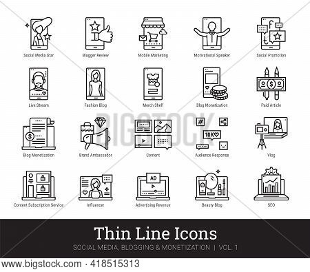 Social Network, Blogging, Monetization Thin Line Icons. Vector Clip Art Collection Isolated On White