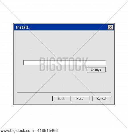 Empty Install Window Software Isolated On White Background. Vector Stock
