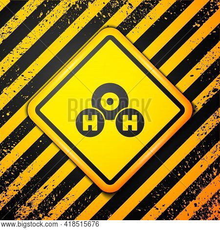 Black Chemical Formula For Water Drops H2o Shaped Icon Isolated On Yellow Background. Warning Sign.