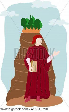 Dante Alighieri Poet Image With Mount Purgatory