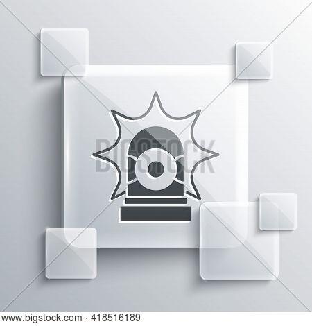 Grey Flasher Siren Icon Isolated On Grey Background. Emergency Flashing Siren. Square Glass Panels.