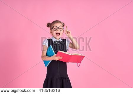 A Picture Of A Schoolgirl With Textbook Emotionally Guessing Poi