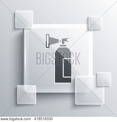 Grey Fire Extinguisher Icon Isolated On Grey Background. Square Glass Panels. Vector