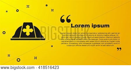 Black Firefighter Helmet Or Fireman Hat Icon Isolated On Yellow Background. Vector