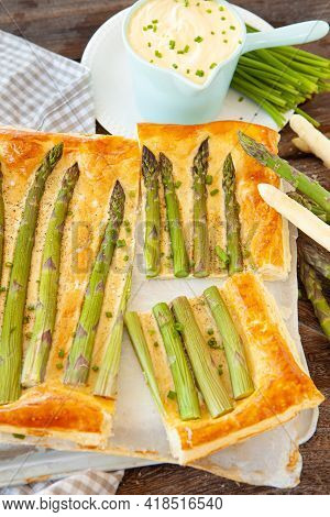 Savory Puff Pastry Quiche With Green Asparagus