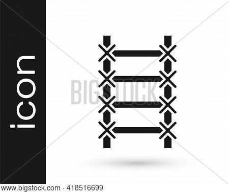 Black Fire Escape Icon Isolated On White Background. Pompier Ladder. Fireman Scaling Ladder With A P