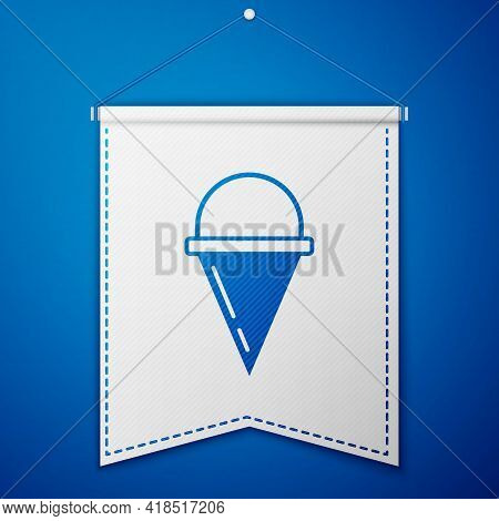 Blue Fire Cone Bucket Icon Isolated On Blue Background. Metal Cone Bucket Empty Or With Water For Fi