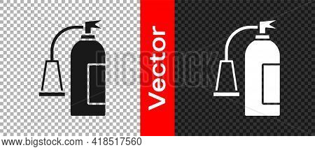 Black Fire Extinguisher Icon Isolated On Transparent Background. Vector