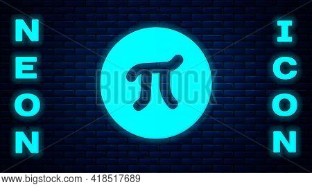 Glowing Neon Pi Symbol Icon Isolated On Brick Wall Background. Vector