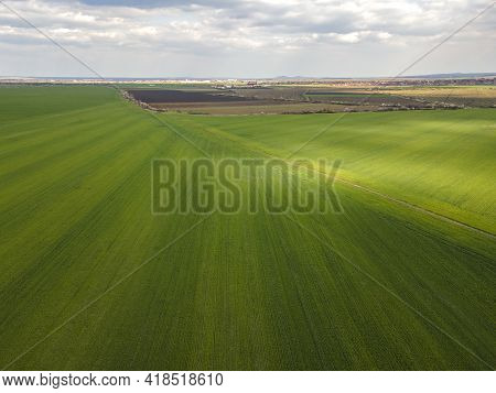 Aerial View Of Upper Thracian Plain Near Town Of Parvomay, Plovdiv Region,  Bulgaria