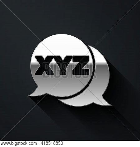 Silver Xyz Coordinate System Icon Isolated On Black Background. Xyz Axis For Graph Statistics Displa