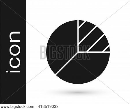 Black Pie Chart Infographic Icon Isolated On White Background. Diagram Chart Sign. Vector