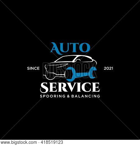 Automotive Logo Template Modern Car Vector Illustration With Blue Wrench Color Sticker Or Print Art