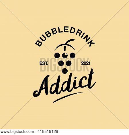 Simple Retro Bubble Drink Logo Fresh Tea Or Milk Vector Organic Food And Drink Graphic Design Templa
