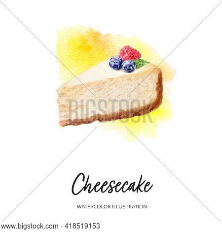 Cheesecake Watercolor Illustration Isolated On Splash Background