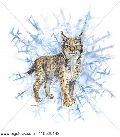 Winter Lynx Stands Ears With Tassels On An Icy Background Snowflakes In Watercolor