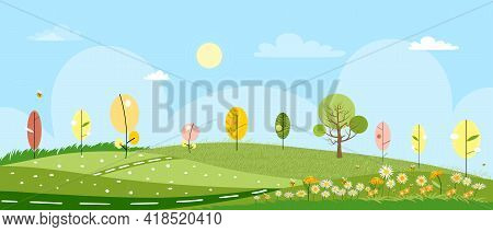 Cute Cartoon Panorama Landscape Of Spring Field And Spring Flowers With Family Bee Flying, Lovely Ca