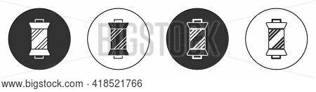 Black Sewing Thread On Spool Icon Isolated On White Background. Yarn Spool. Thread Bobbin. Circle Bu