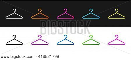Set Hanger Wardrobe Icon Isolated On Black And White Background. Cloakroom Icon. Clothes Service Sym