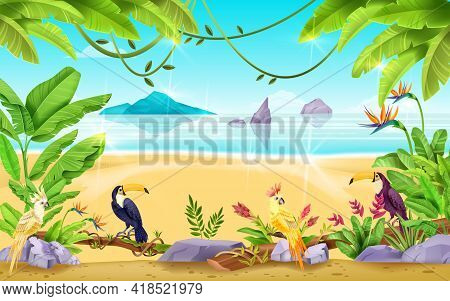 Summer Beach Landscape, Tropical Exotic Vector Background, Sea, Sand, Rocks, Banana And Palm Leaf. S