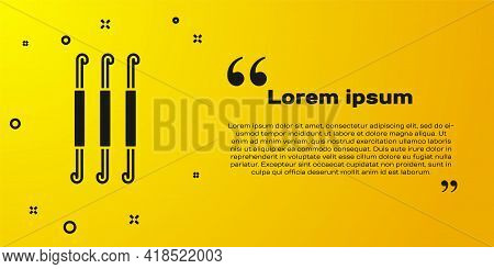 Black Crochet Hook Icon Isolated On Yellow Background. Knitting Hook. Vector