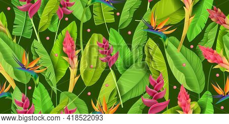Summer Jungle, Exotic Flower Vector Green Seamless Pattern, Tropical Floral Background, Banana Leave