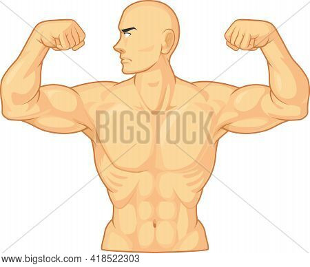 Bodybuilder Flexing Arm Bicep Muscle Cartoon Vector Drawing Isolated