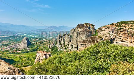 Meteora in Greece. Greek landscape, scenic panoramic view