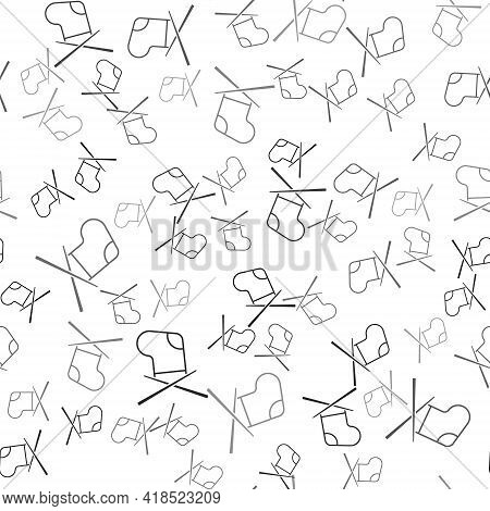 Black Knitting Needles Icon Isolated Seamless Pattern On White Background. Label For Hand Made, Knit