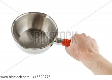 Bare Caucasian Hand Holding Small Shiny Stainless Steel Pot - Isolated On White