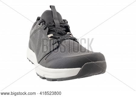 Black Lightweight Summer Walking Shoe Isolated On White Background