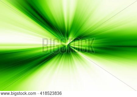 Abstract Radial Zoom Blur Surface Of   Green  And  White Tones. Abstract Bright Green   Background W