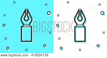 Black Line Fountain Pen Nib Icon Isolated On Green And White Background. Pen Tool Sign. Random Dynam