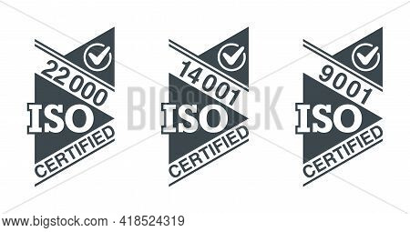 Iso 9001, 14001 And 22000 Certified Flat Square Stamps Set - Quality Management System International