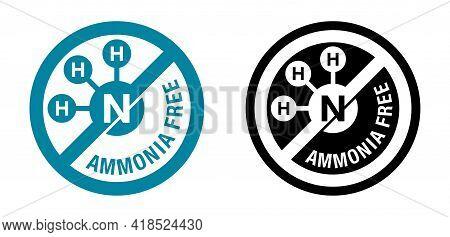 Ammonia Free Colour Flat Circular Icon - For Non-ammonia Hair Dye. Vector Emblem