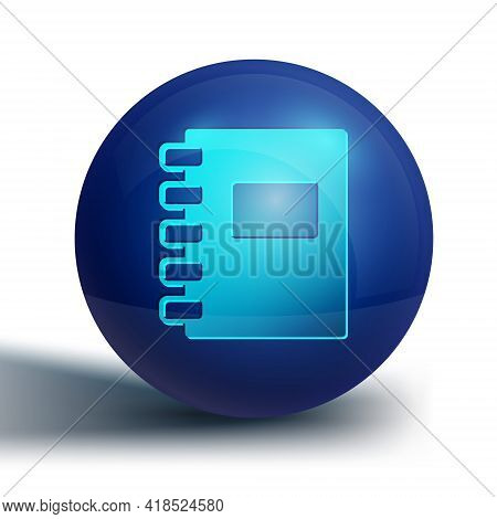 Blue Notebook Icon Isolated On White Background. Spiral Notepad Icon. School Notebook. Writing Pad.