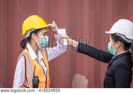 Coronavirus Covid-19 Disease Epidemic Crisis Situation, Container Shipping Worker Having Fever Body