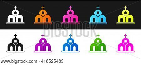 Set Church Building Icon Isolated On Black And White Background. Christian Church. Religion Of Churc