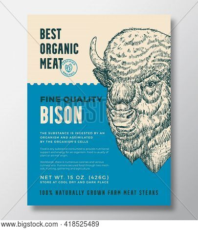 Animal Portrait Organic Meat Abstract Vector Packaging Design Or Label Template. Farm Grown Bison St