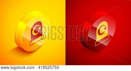 Isometric Muslim Cemetery Icon Isolated On Orange And Red Background. Islamic Gravestone. Circle But